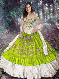 Taffeta Off The Shoulder Sleeveless Lace Up Embroidery and Ruffled Layers Ball Gown Prom Dress in Yellow Green