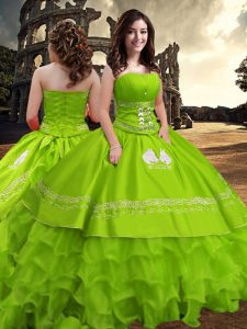 Sweet 16 Dresses Military Ball and Sweet 16 and Quinceanera with Embroidery and Ruffled Layers Strapless Sleeveless Zipper