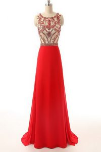 Decent Scoop Sleeveless Chiffon Evening Dress Beading Brush Train Side Zipper