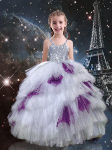 White Lace Up Straps Beading and Ruffled Layers Girls Pageant Dresses Tulle Sleeveless
