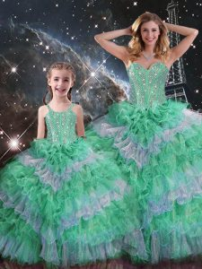 Colorful Floor Length Multi-color Quinceanera Gown Organza Sleeveless Beading and Ruffled Layers