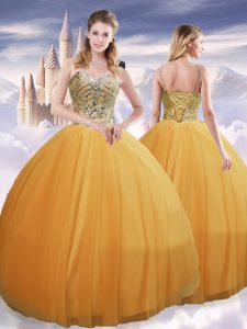 Most Popular Gold Spaghetti Straps Neckline Beading Quince Ball Gowns Sleeveless Lace Up