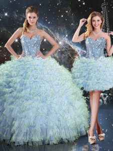 Enchanting Sleeveless Floor Length Beading and Ruffles Lace Up 15 Quinceanera Dress with Aqua Blue