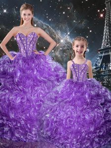 Custom Fit Eggplant Purple Ball Gown Prom Dress Military Ball and Sweet 16 and Quinceanera with Beading and Ruffles Sweetheart Sleeveless Lace Up