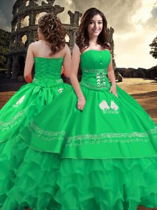 Classical Green Taffeta Zipper Strapless Sleeveless Floor Length Vestidos de Quinceanera Embroidery and Ruffled Layers