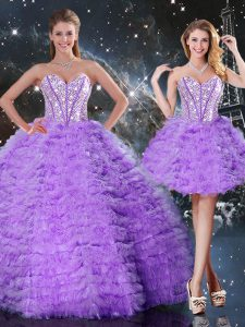 Fitting Sweetheart Sleeveless Lace Up 15th Birthday Dress Lavender Organza