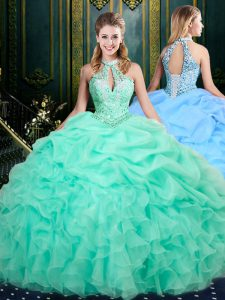 Apple Green Organza Lace Up Halter Top Sleeveless Floor Length Quinceanera Gown Beading and Ruffles and Pick Ups