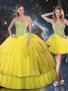 Gold Sweetheart Lace Up Ruffled Layers and Sequins 15th Birthday Dress Sleeveless
