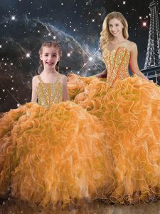 Orange Ball Gowns Organza Sweetheart Sleeveless Beading and Ruffles Floor Length Lace Up Sweet 16 Quinceanera Dress