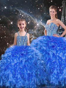 Cute Royal Blue Organza Lace Up Quinceanera Dress Sleeveless Floor Length Beading and Ruffles