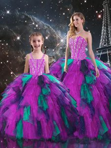 Beading and Ruffles Sweet 16 Dress Multi-color Lace Up Sleeveless Floor Length