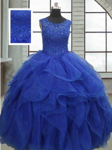Sleeveless Ruffles and Sequins Lace Up 15th Birthday Dress
