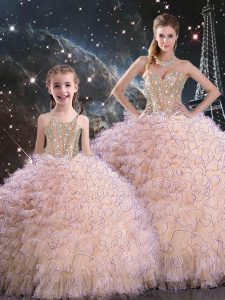 Luxurious Peach Ball Gowns Organza Sweetheart Sleeveless Beading and Ruffles Floor Length Lace Up Vestidos de Quinceanera