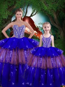 Dynamic Organza Sweetheart Sleeveless Lace Up Beading and Ruffled Layers Sweet 16 Quinceanera Dress in Royal Blue