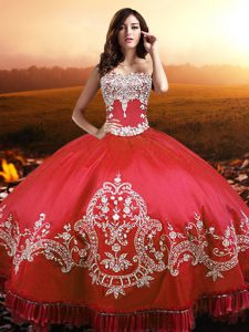 Gorgeous Coral Red Lace Up Strapless Beading and Appliques and Embroidery Quince Ball Gowns Taffeta Sleeveless