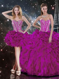 Dramatic Floor Length Lace Up Sweet 16 Dresses Fuchsia for Military Ball and Sweet 16 and Quinceanera with Beading and Ruffles