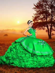 Ideal Ball Gowns Sleeveless Green Quinceanera Dresses Brush Train Lace Up