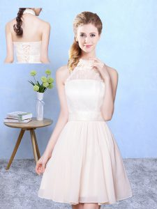 Chiffon High-neck Sleeveless Lace Up Lace Bridesmaid Gown in Champagne