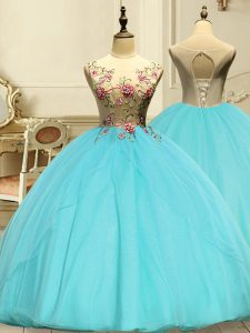 Deluxe Aqua Blue Organza Lace Up 15th Birthday Dress Sleeveless Floor Length Appliques