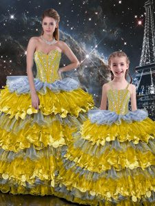 Charming Multi-color Sleeveless Organza Lace Up 15th Birthday Dress for Military Ball and Sweet 16 and Quinceanera