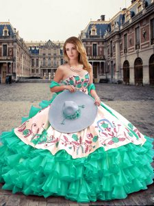 Amazing Turquoise Ball Gowns Sweetheart Sleeveless Organza Floor Length Lace Up Embroidery and Ruffled Layers 15 Quinceanera Dress