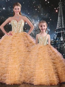 Orange Tulle Lace Up Quinceanera Gowns Sleeveless Floor Length Beading and Ruffles