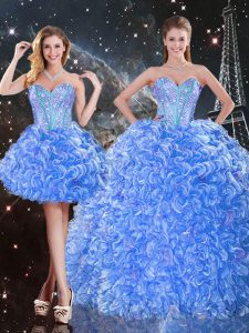 Spectacular Baby Blue Quinceanera Gown Military Ball and Sweet 16 and Quinceanera with Beading Sweetheart Sleeveless Lace Up