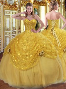 Cute Gold Sleeveless Pick Ups and Hand Made Flower Floor Length Quinceanera Gowns