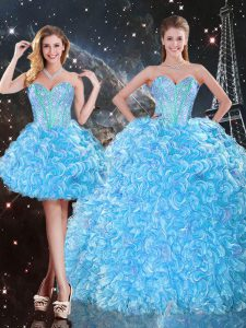 Three Pieces Sweet 16 Dress Baby Blue Sweetheart Organza Sleeveless Floor Length Lace Up