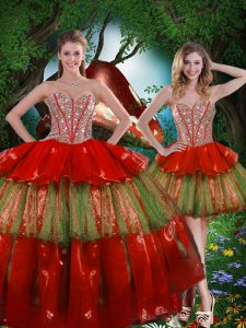 Floor Length Lace Up Quinceanera Dress Wine Red for Military Ball and Sweet 16 and Quinceanera with Beading and Ruffled Layers