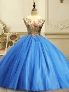 Floor Length Baby Blue Sweet 16 Dress Scoop Sleeveless Lace Up
