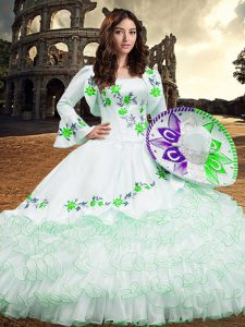 Gorgeous Square Long Sleeves 15 Quinceanera Dress Floor Length Embroidery and Ruffled Layers White Organza