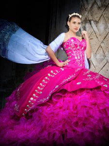 Custom Made Sleeveless Brush Train Embroidery and Ruffles Lace Up Quinceanera Dresses