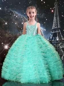 Sleeveless Floor Length Beading and Ruffled Layers Lace Up Little Girls Pageant Dress Wholesale with Turquoise
