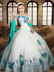 White Lace Up Quinceanera Dress Embroidery Sleeveless Floor Length
