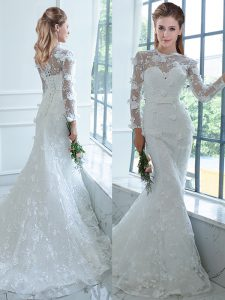 Custom Designed High-neck Long Sleeves Wedding Dresses Brush Train Lace White Lace