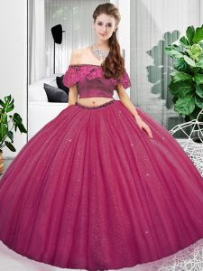 Gorgeous Fuchsia Organza Lace Up Off The Shoulder Sleeveless Floor Length Vestidos de Quinceanera Lace and Ruching