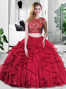Spectacular Scoop Sleeveless Zipper Quinceanera Dresses Wine Red Tulle
