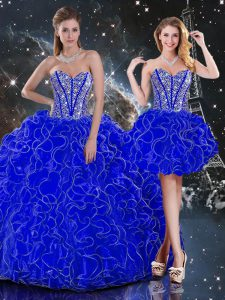 Royal Blue Lace Up Quinceanera Dress Beading and Ruffles Sleeveless Floor Length