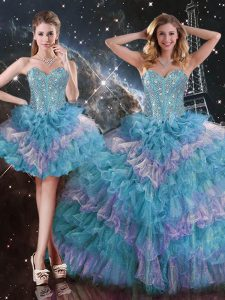 Luxury Multi-color Sleeveless Organza Lace Up Sweet 16 Dresses for Military Ball and Sweet 16 and Quinceanera