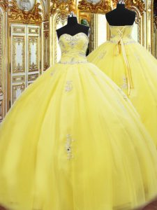 Low Price Yellow Ball Gowns Sweetheart Sleeveless Tulle Floor Length Lace Up Beading and Appliques 15 Quinceanera Dress