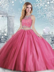 Fashion Hot Pink Clasp Handle Scoop Beading and Sequins 15 Quinceanera Dress Tulle Sleeveless