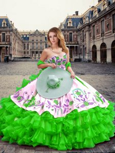 High Quality Sweetheart Sleeveless Lace Up Ball Gown Prom Dress Green Organza