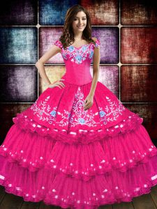 Traditional Hot Pink Ball Gowns Embroidery and Ruffled Layers Sweet 16 Quinceanera Dress Lace Up Taffeta Sleeveless Floor Length