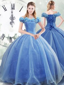 Most Popular Brush Train Ball Gowns Quince Ball Gowns Light Blue Off The Shoulder Organza Sleeveless Lace Up