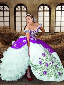 Off The Shoulder Sleeveless 15 Quinceanera Dress Floor Length Embroidery and Ruffled Layers Multi-color Taffeta