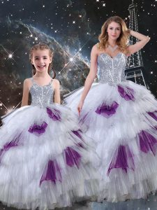Classical Organza Sweetheart Sleeveless Lace Up Beading and Ruffled Layers Quinceanera Gowns in Multi-color