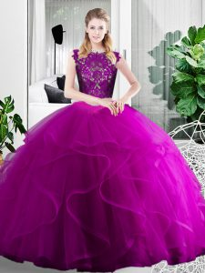 Floor Length Two Pieces Sleeveless Fuchsia Sweet 16 Quinceanera Dress Zipper