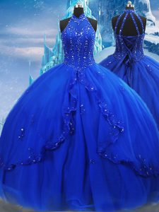 Artistic Royal Blue Vestidos de Quinceanera Military Ball and Sweet 16 and Quinceanera with Beading and Ruffles High-neck Sleeveless Brush Train Lace Up