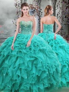 Sweetheart Sleeveless Lace Up Ball Gown Prom Dress Turquoise Organza